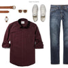 Fixer Two Pocket Men's Utility Shirt In Dark Burgundy Ways To Wear With Medium Denim