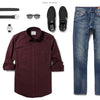 Fixer Two Pocket Men's Utility Shirt In Dark Burgundy Ways To Wear With Medium Denim 2