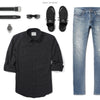 Fixer Two Pocket Men's Utility Shirt In Jet Black Ways To Wear With Medium Denim 2