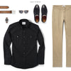 Editor Two Pocket Men's Utility Shirt In Jet Black Ways To Wear With Chinos