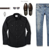 Editor Two Pocket Men's Utility Shirt In Jet Black Ways To Wear With Medium Denim