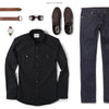 Editor Two Pocket Men's Utility Shirt In Jet Black Ways To Wear With Dark Denim
