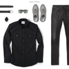 Editor Two Pocket Men's Utility Shirt In Jet Black Ways To Wear With Black Denim