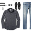 Editor Two Pocket Men's Utility Shirt In Slate Gray Ways To Wear With Medium Denim