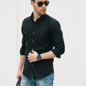 Editor Two Pocket Men's Utility Shirt In Jet Black Mercerized Cotton On Body With Medium Denim