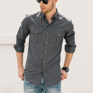 Editor Two Pocket Men's Utility Shirt In Slate Gray Mercerized Cotton On Body