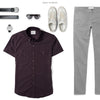 Editor Two Pocket Short Sleeve Men's Utility Shirt In Dark Burgundy Ways To Wear With Gray Chinos