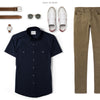 Editor Two Pocket Short Sleeve Men's Utility Shirt In Dark Navy Ways To Wear With Chinos
