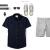 Editor Two Pocket Short Sleeve Men's Utility Shirt In Dark Navy Ways To Wear With Gray Shorts