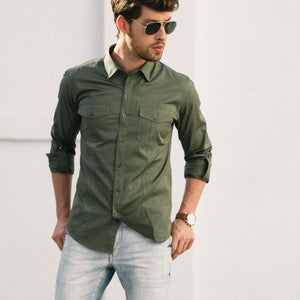 Explorer Two Pocket Men's Utility Shirt In Fatigue Green Cotton Twill On Body