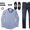 Maker Two Pocket Men's Utility Shirt In Classic Blue Ways To Wear With Dark Denim