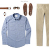 Maker Two Pocket Men's Utility Shirt In Classic Blue Ways To Wear With Khaki Chinos