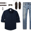 Fixer Two Pocket Men's Utility Shirt In Dark Navy Ways To Wear With Light Denim