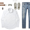Specialist Two Pocket Men's Utility Shirt In Pure White Ways To Wear With Medium Denim 2