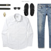 Specialist Two Pocket Men's Utility Shirt In Pure White Ways To Wear With Medium Denim