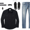 Operator Two Pocket Men's Utility Shirt In Black Ways To Wear With Light Denim