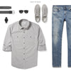 Fixer Two Pocket Men's Utility Shirt In Cement Gray Ways To Wear With Medium Denim