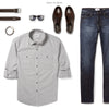 Fixer Two Pocket Men's Utility Shirt In Cement Gray Ways To Wear With Dark Denim