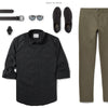 Explorer Two Pocket Men's Utility Shirt In Jet Black Ways To Wear With Green Chinos