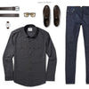 Convoy Two Pocket Men's Utility Shirt In Industrial Gray Ways To Wear With Dark Denim 2