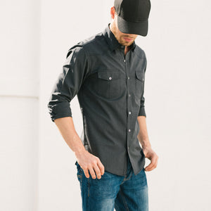Maker Two Pocket Men's Utility Shirt In Asphalt Gray Cotton End-On-End On Body