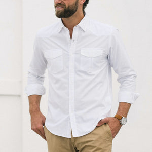 Maker Two Pocket Men's Utility Shirt In Clean White Cotton Oxford On Body