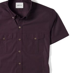 Editor Two Pocket Short Sleeve Men's Utility Shirt In Dark Burgundy Mercerized Cotton Close-Up Image