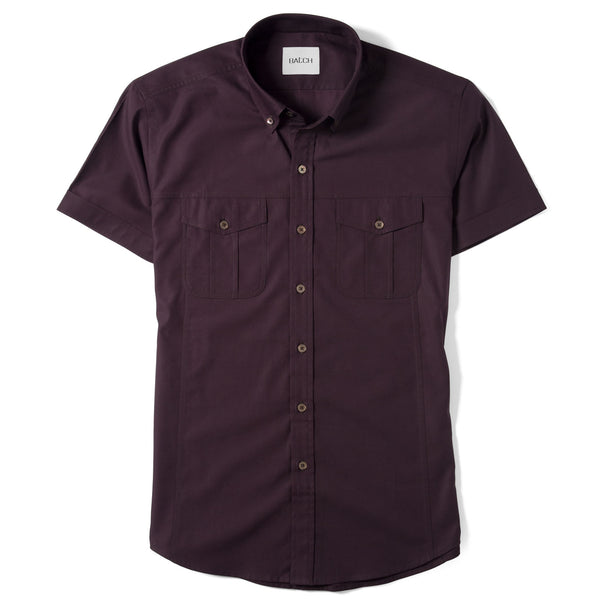 Editor Short Sleeve Utility Shirt – Dark Burgundy Mercerized Cotton