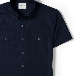 Editor Two Pocket Short Sleeve Men's Utility Shirt In Dark Navy Mercerized Cotton Close-Up Image