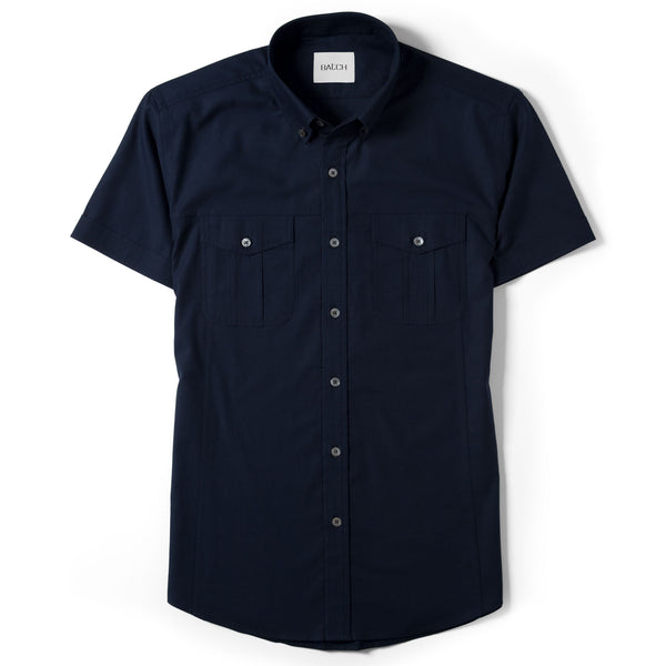 Editor Short Sleeve Utility Shirt – Dark Navy Mercerized Cotton