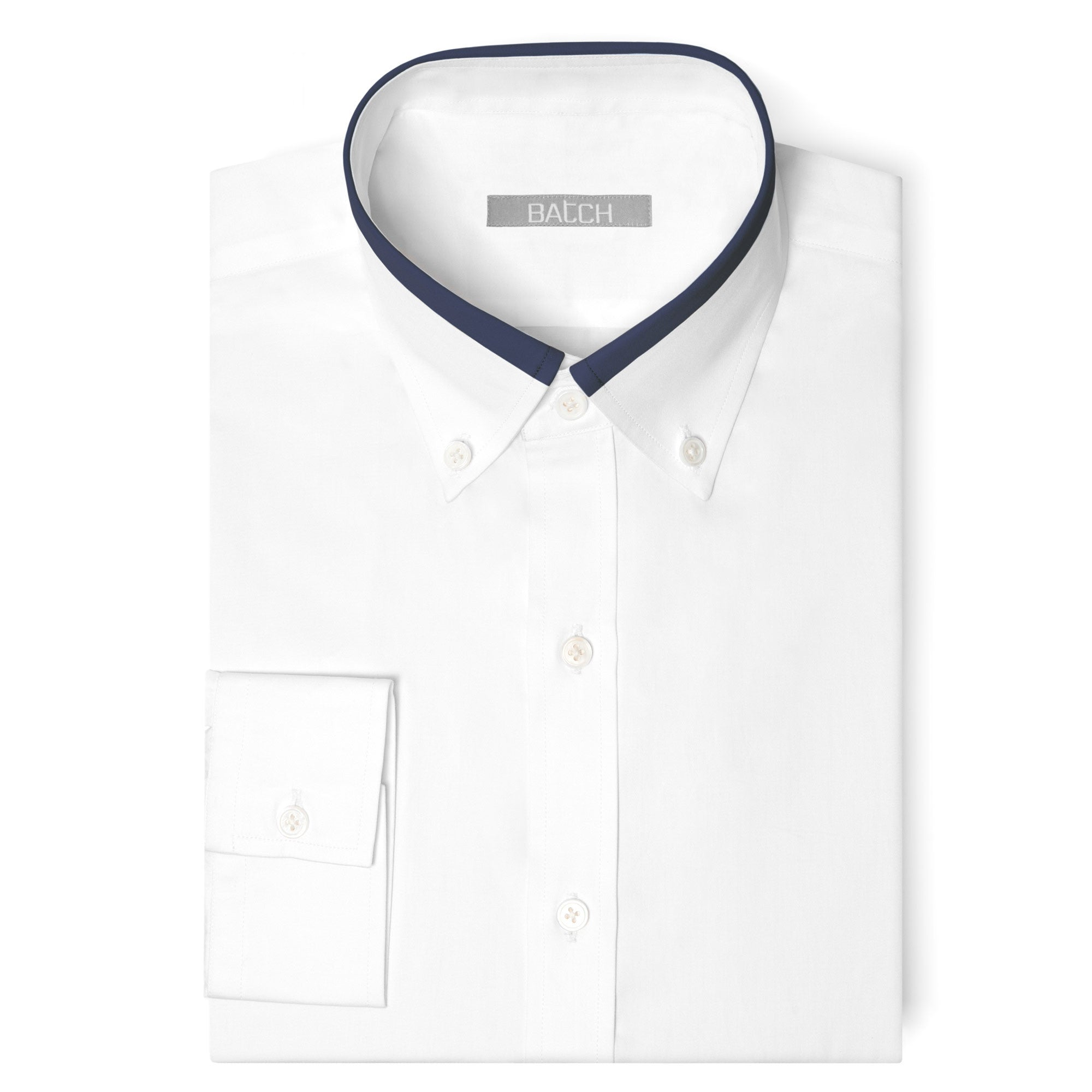 White / Navy Contrast Collar Shirt
