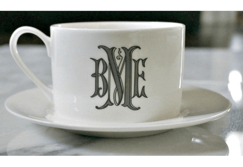 Custom Monogrammed Cup and Saucer