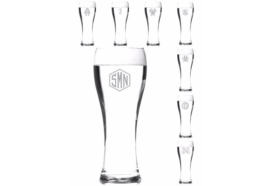 Pilsner Glasses - Personalized with Custom Monogram