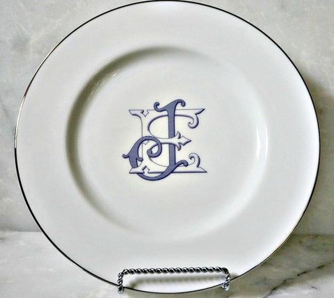 Porcelain Silver Line Salad Plate - The Burgundy Collection