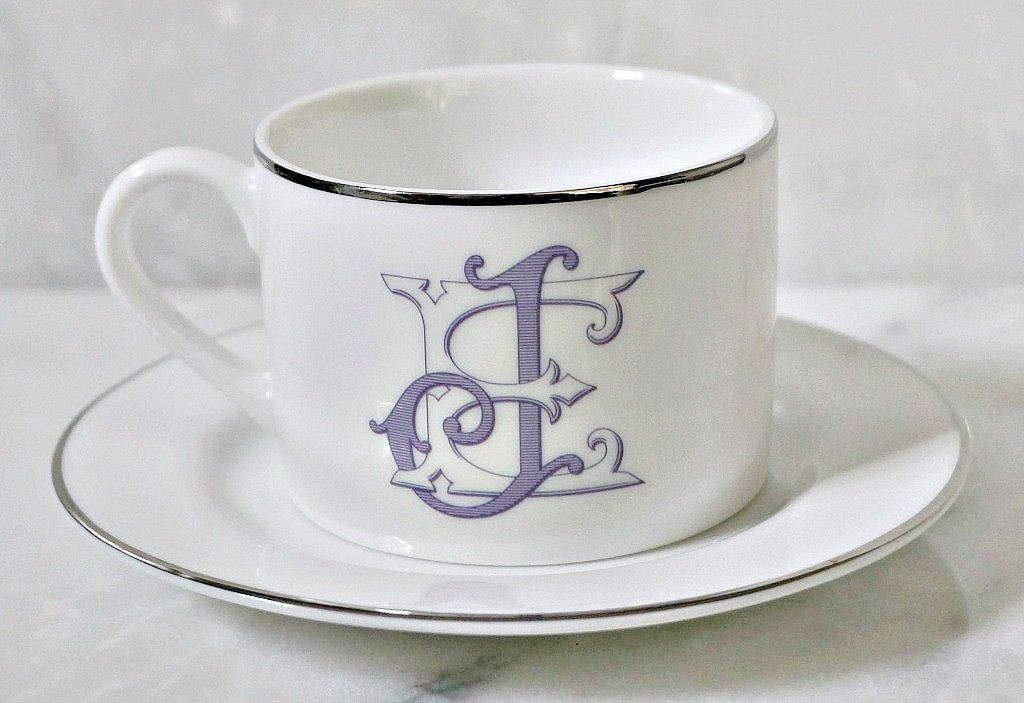 Porcelain Silver Line Cup & Saucer - The Burgundy Collection
