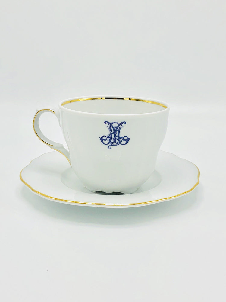 Porcelain Gold Lined Scalloped Cup and Saucer- The Luxe Collection