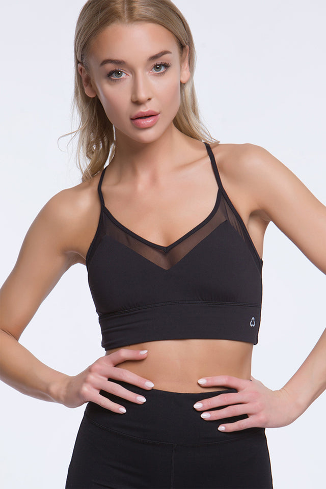 Lacey Heart Light Impact Bra - Black/White