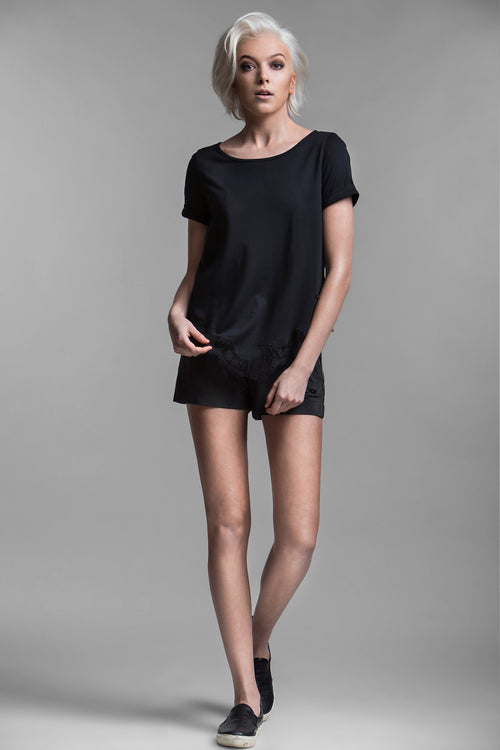Donatella Lace Trimmed Tee