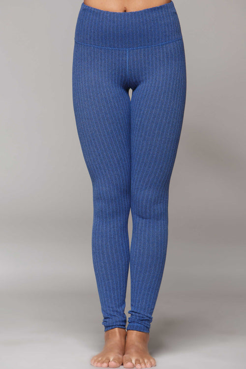 Lucky Legging Heathered - Blue Chevron