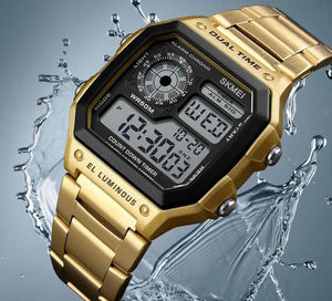 Digital Watch - The Sleek Compass™ Casual Stainless Steel Digital Watches For Men