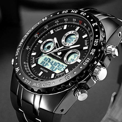 Dual Display Watch - The Quad Readeel™ LED Digital Military Waterproof Sportswatch For Men