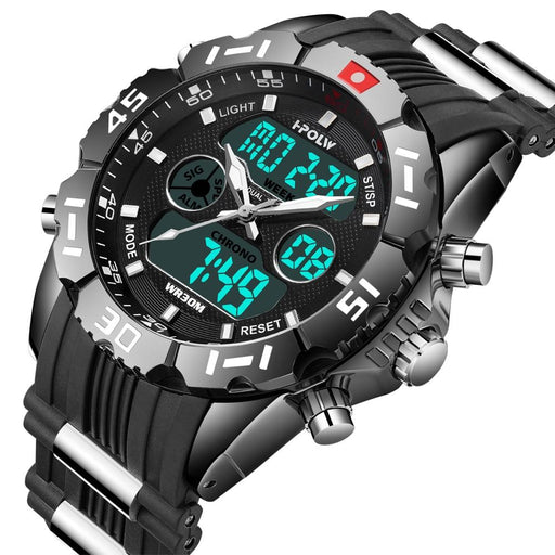 Dual Display Watch - The Tech Hoplw™ Fashion Chrono Waterproof LED Digital Watch For Men