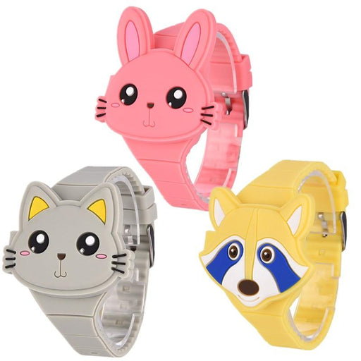 Kid's Fashion Watch - The Pets™ 3 Pcs Set Cartoon  LED Digital Sports Watch For Kids