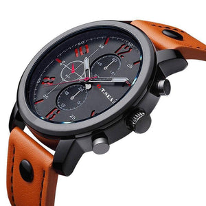 Watches - Masculine Leather Military Watch