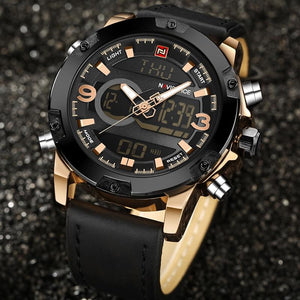 Watches - The Military™  Luxury Analog Digital Leather Wrist Watch