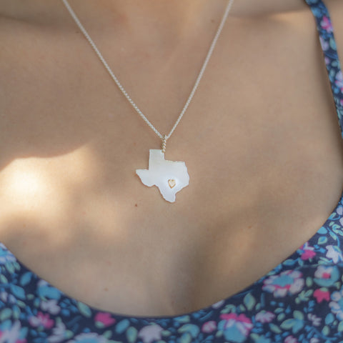 Heart of Texas Pendant Gold Heart