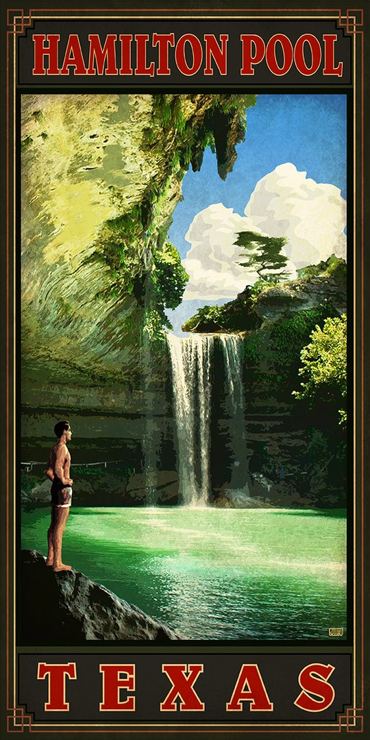 Hamilton Pool - Texas Art Posters