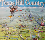A Texas Hill Country Caricature Map Poster