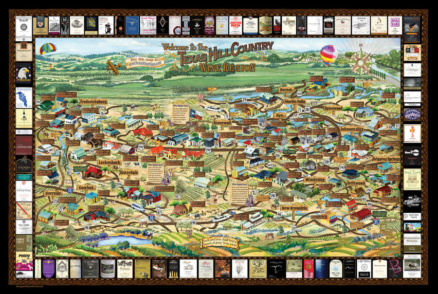 Laminated Texas Hill Country Wine Map