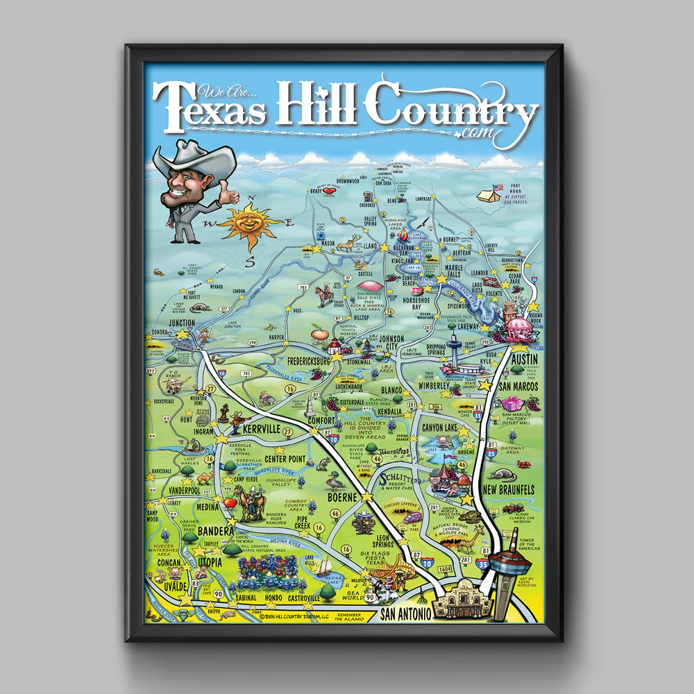 Texas Hill Country Map Poster Authentic Texan